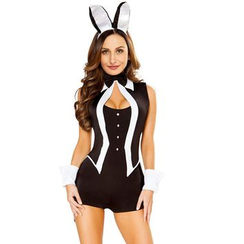 Cool Sexy Halloween Cosplay Costume Women 5 Piece Tuxedo Bunny Costume Tux and Tails Halloween Cosplay Uniform Halloween Suit BlackAT_93_12