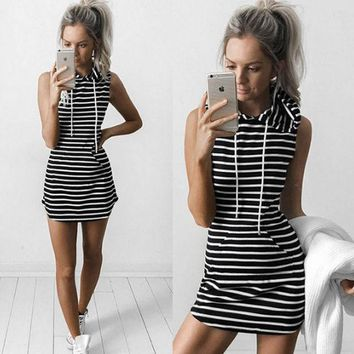 PEAP8H2 Black Striped Drawstring Hoodie Shift Dress