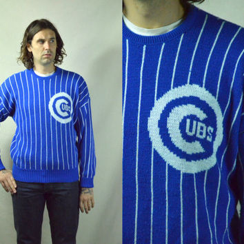 Vintage 80's Chicago Cubs Cliff Engle Striped Sweater