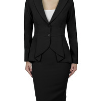 LE3NO Womens Pleated Blazer and Skirt Suit Set