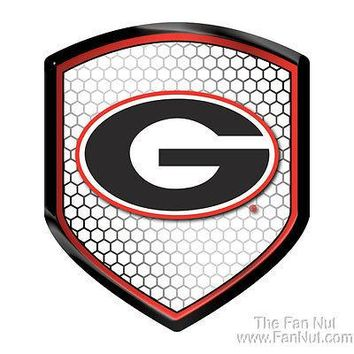 Georgia Bulldogs SHIELD Reflector Emblem Decal Football Auto Home University of