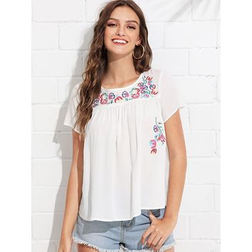 Flower Embroidered Tunic Top