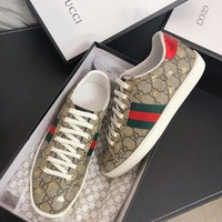 Gucci Old Skool Women Fashion Embroidery Bee Sneakers Sport Shoes white beige
