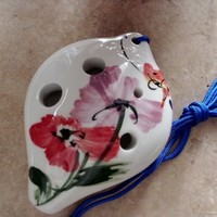 Utopia Ceramic Ocarina w. Garden Flower & Butterfly water color painting Soprano C - Easy to play Good for beginners