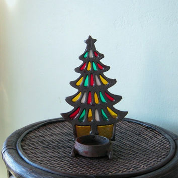 1970s Vintage Hippie Christmas Candle Holder - Amber/White/Red/Green Stained Glass Christmas Tree Tea Light Candle/Votive Holder