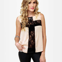 Cool Beige Top - Cross Top - Sleeveless Top - Lace Top - $34.00