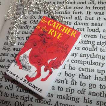 The Catcher in the Rye Necklace, Miniature Book Necklace, Mini Books Jewelry, Gift for Reader, Bibliophile
