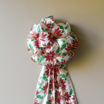 Christmas Tree Topper Bow- Poinsettia Christmas Bow-Wreath Stair Rail Door Tree Mailbox Christmas Decoration