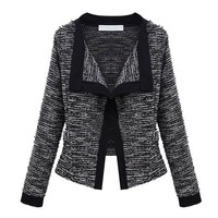 ZLYC Women Boucle Crop Contrast Trim Open Front Detailing Tweed Blazer Jacket