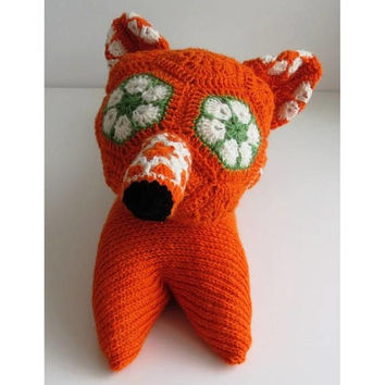 Amigurumi fox stuff animal fox plush toy crochet fox animal toddler gift for child orange fox doll knitted toy