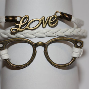 WISDOM~ White Glasses Love Bracelet, Ophthalmologist, Optometrist, Optician, Eye Glasses, Geekery Bracelet, Nerd Gift, ilovecheesygrits