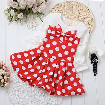 NYSRFZ 2017 Baby Girl Dress Dot Pattern Princess Dress Girls European Style Baby Dress Brand Designer Kids Clothes Bow dress
