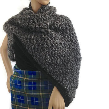 Outlander Claire Shawl Wrap Gray Scottish Fraser Winter accessories Diana Gabaldon Goth Steampunk Crocheted  FREE SHIPPING