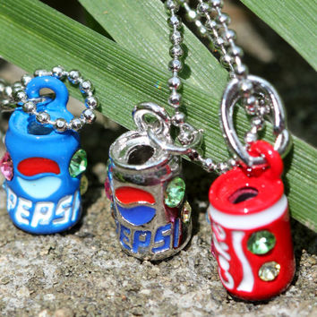 Tiny little coke can pendant necklace / mood necklace which refreshingly