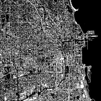 Chicago, Illinois Graphic Cityscape Map Art Print - in 8x8, 8x10, 11x14, 12x12, and 12x16 inches, plus Canvas sizes!
