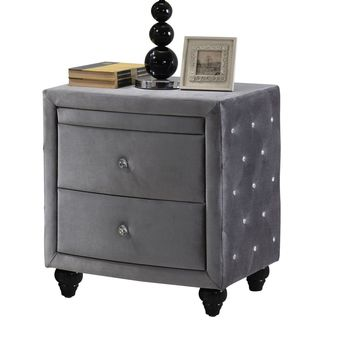 Hudson Grey Velvet Night Stand
