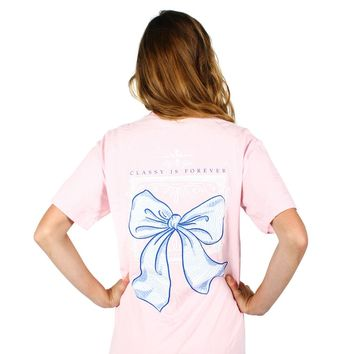 Classy is Forever Bow Pocket Tee in Blossom by Lily Grace