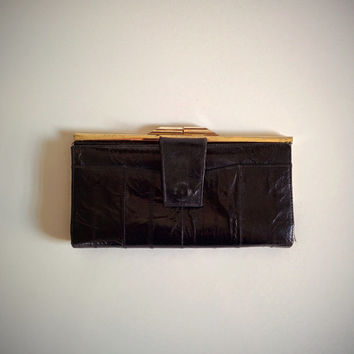 Vintage 70's Eel Skin Wallet Black with Gold Metal Accents
