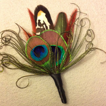 Boutonniere, Feather boutonniere, peacock wedding, brown feathers, lapel pin, groomsmen,peacock, best man
