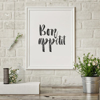 Printable Poster Bon Appetit Typography Print Black & White Wall Art Poster Print Kitchen Dining Room Kitchen Sign French Quote Retro Style