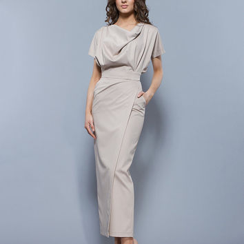Light Beige Maxi Dress Spring, Short Sleeve Wrap Skirt Retro Dress Elegant