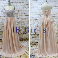 Blush Pink Chiffon Prom Dresses, Sweetheart Crystal Beading Bodice Long Prom Bridesmaid Dress, Chiffon Evening Party Dress Homecoming Dress