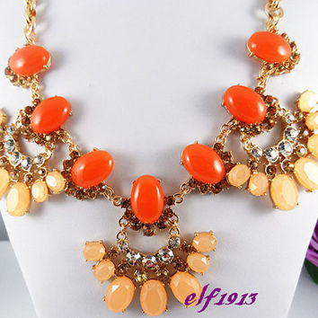 NEW J. Crew Style Inspired Bib Necklace Statement Necklace,bridesmaid gifts, Rhinestone shining,  flower necklace, Fresh orange,