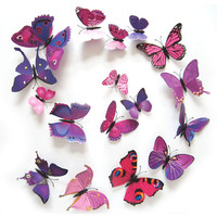 Hot Selling 12PCS 3D PVC Magnet Butterflies DIY Wall Sticker