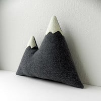 the Peaks -- grey plush wool mountain pillow