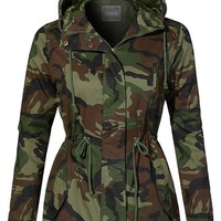 Camo Safari Military Anorak Hoodie Jacket - Olive