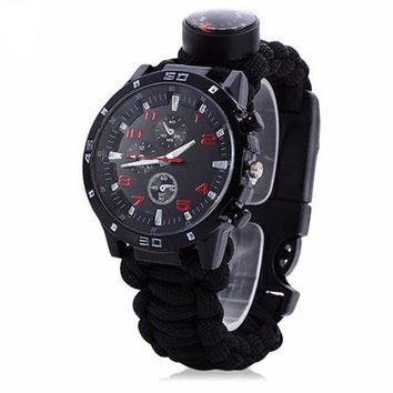 EDC Tactical multifunction survival bracelet watch
