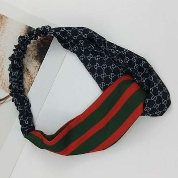 GUCCI 2018 new red and green striped double G hair band jewelry F0703-1 black