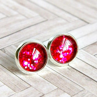 be mine sparkly red silver plated post earrings, valentines day, red earrings, glitter, stud,