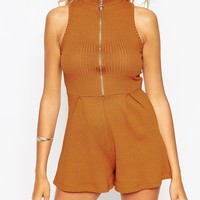 ASOS High Neck Ring Pull Playsuit in Rib at asos.com