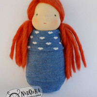 Waldorf doll - Pocket doll - Blue sock body - Heart pattern - toy for toddlers - sock doll - baby doll - red hair - girl doll  - Valentine