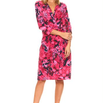 Three Quarter Sleeve V-Neck Wrap Dress with Side Tie & Floral Print