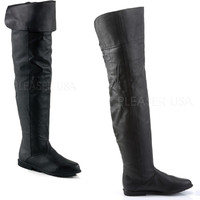 Raven Leather OTK Boot Thigh High Woman's Flat Boot Black 6-14
