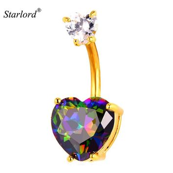 Starlord Hot Crystal Love Heart Belly Button Ring Women Body Jewelry Gold Zircon Flower CZ Navel Piercing Belly Nombril DB2161