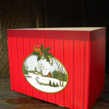 Christmas Theme Gift Basket Box, Winter Scene Red Cardboard Container, Organizer Box, Centerpiece Base
