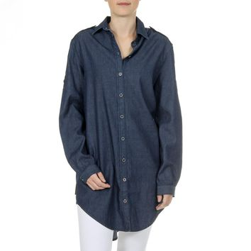 Andrew Charles Womens Shirt Long Sleeves Denim CAMILIA