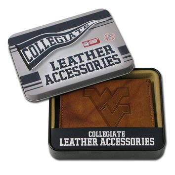 West Virginia Mountaineers Leather Bifold Wallet (Brown)