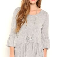 Three Quarter Bell Sleeve Top with Flouncy Bottom
