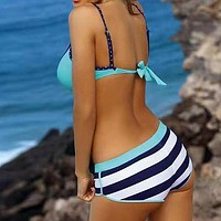 Plus Size Swimwear Women Bathers Push Up Sexy Bikini Swimsuit Female Biquini Striped Bathing Suit Beach Wear