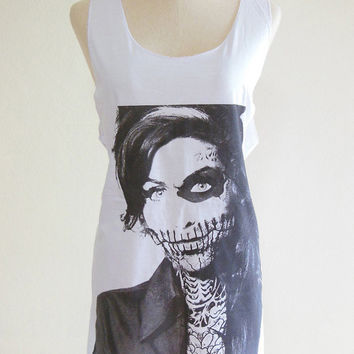 Amy Winehouse Zombie Skull Soul R&B Jazz Indie Rock Music -- Amy Winehouse Shirt Women Tank Top Vest Tunic White Top Zombie Shirt Size S , M