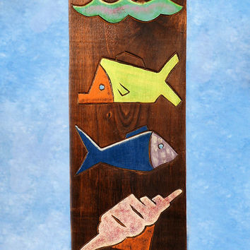 """TROPICAL FISH & SEA SHELL"" RELIEF - 20"" CARVED & PAINTED - OCEANIC ART"