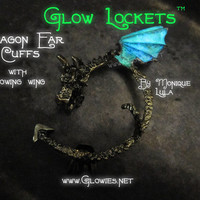 Glow Dragon Ear Cuff Green Blue Glowing Wing