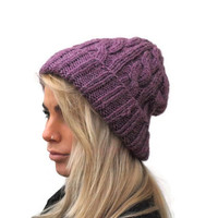 Hand Knit Beanie in Purple , Womens hat, Cable Knit Beanie, winter fashion, alpaca hat, purple hat