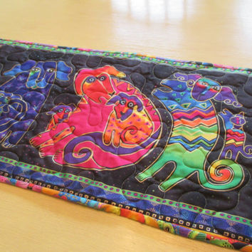 Laurel Burch Table Runner , Modern Table Runner , Folk Art Table Runner