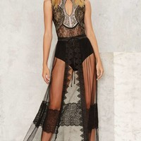 Unveiled Sheer Lace Wrap Skirt