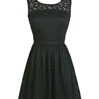 Crewneck Lace Dress - Black